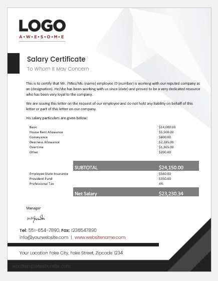 employee salary certificates