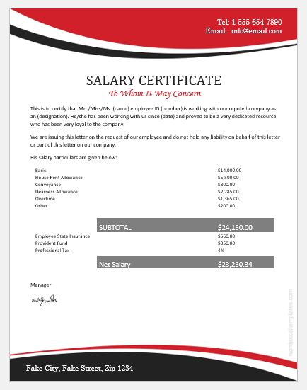 Fake Salary Certificate Templates For Ms Word Word