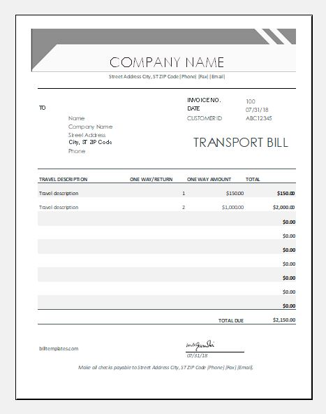 Transport bill template