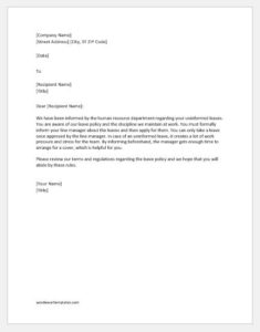 Unprofessional behavior warning letter
