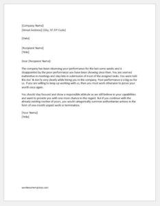 Warning Letter for Substandard Duty Performance
