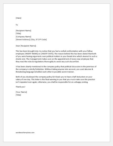 Warning Letter for Verbal Confrontation   Word & Excel Templates