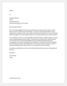 Warning Letter for Verbal Confrontation