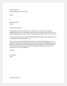 Warning Letter for the Use of Humiliating Words