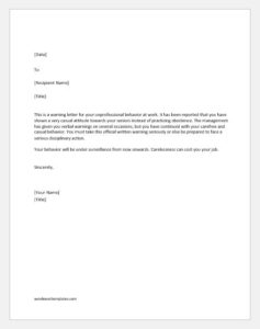 Warning letter for misconduct