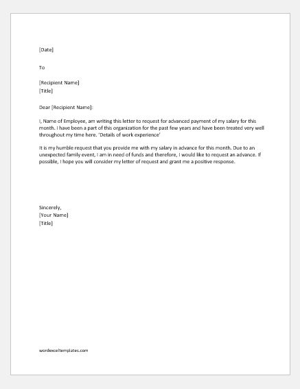Advance payment request letter for family event