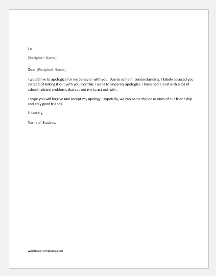 Apology letter for bad behavior with a class fellow