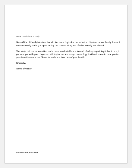 Apology letter for bad behavior with a family member