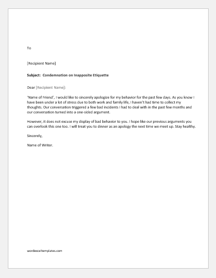 Apology letter for bad behavior with a friend
