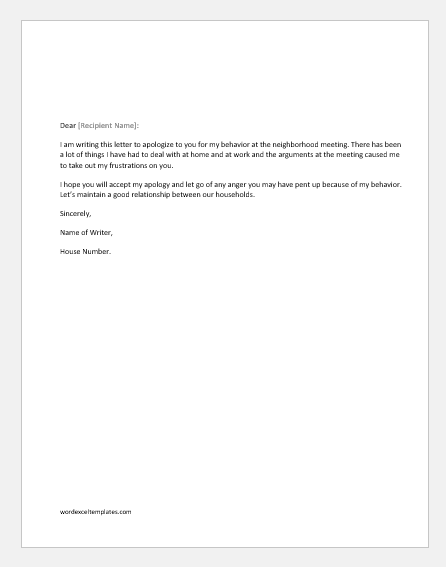 Apology letter for bad behavior with a neighbor