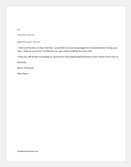 Apology letter for bad behavior with a teacher