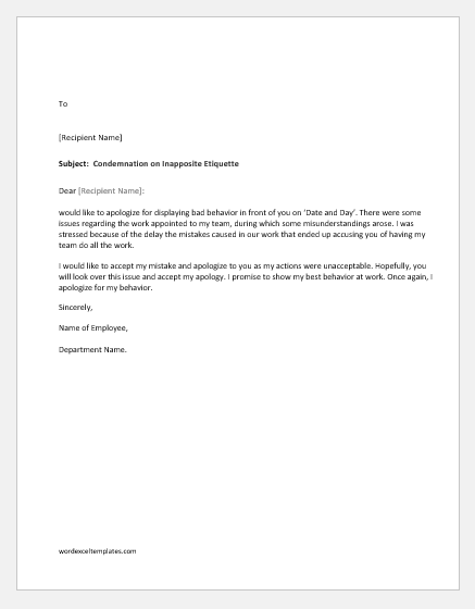 Apology letter for bad behavior with boss