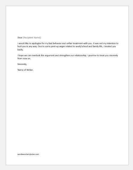 Apology letter for bad behavior with girl-boyfriend