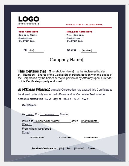 Business Share Certificate