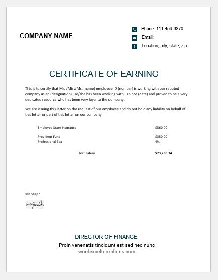 certificate of earnings templates