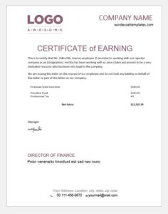 Certificate of earning template