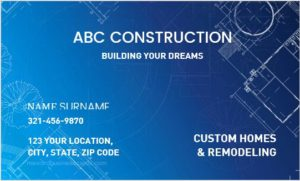 Business Card for Construction Worker Company
