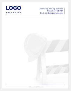 Construction business letterhead template