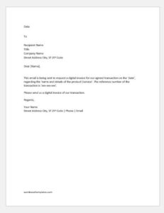 Email requesting an invoice