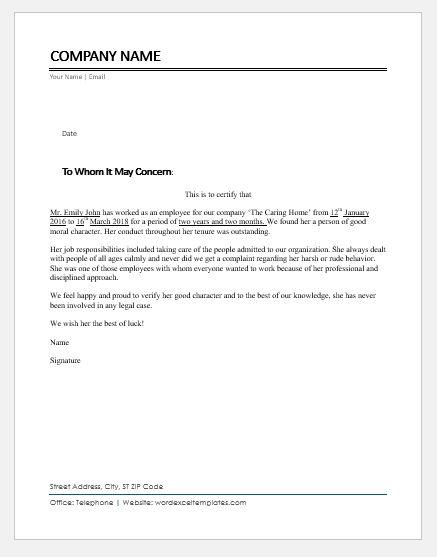 employee character certificates ms word