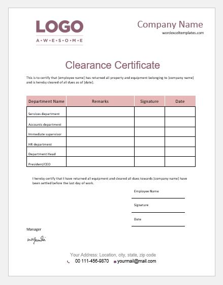 Employee clearance certificate