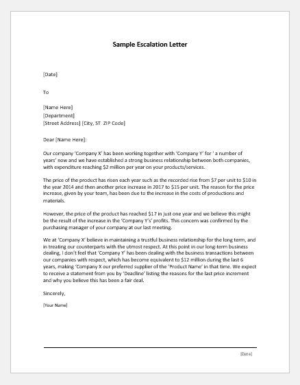 Escalation letter sample