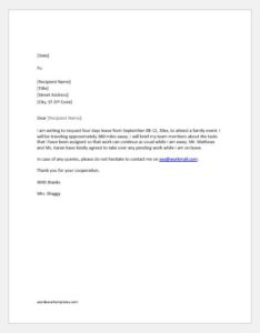 Excuse letter for absence due to attending an event