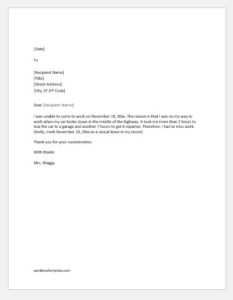 Excuse Letter for absence due to car trouble or transportation issues