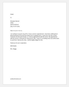 Excuse letter for absence due to doctor appointment