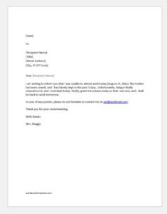 Excuse letter for absence due to oversleep