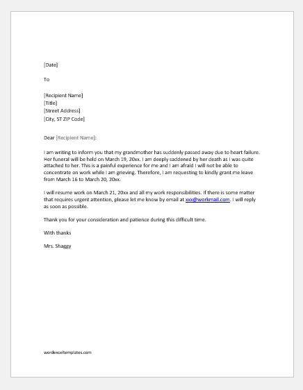 Excuse letter for bereavement days for a family death