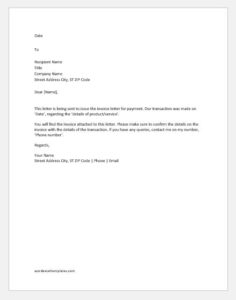Invoice letter for payment