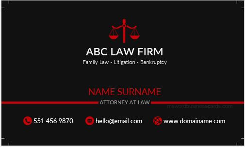 Business Card Template for a Lawyer