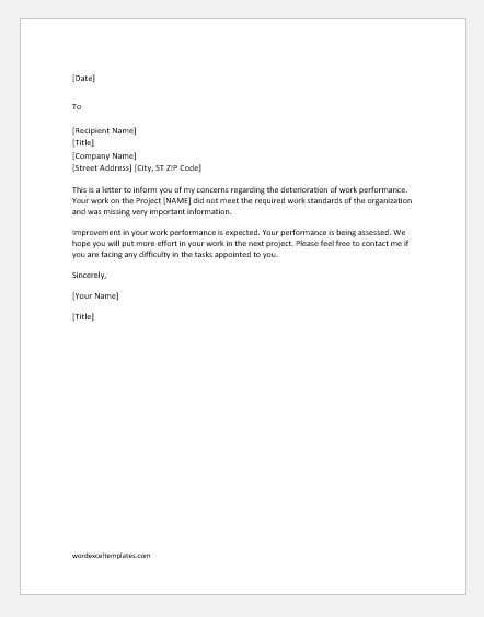 Letter of Concern for Poor Performance