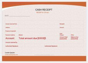 Cash receipt template