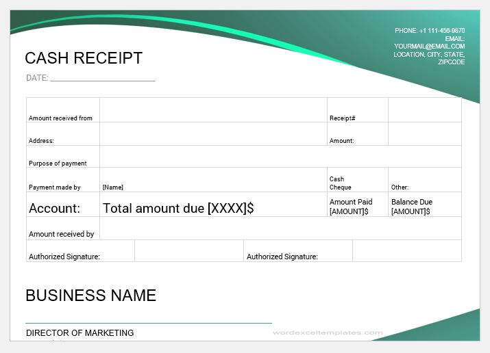 16 printable cash payment receipts for ms word