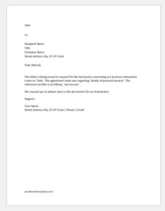 Request letter for a tax invoice