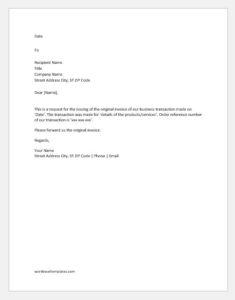 Request letter for original invoice