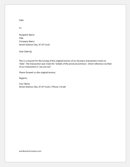 Invoice Request Letters & Emails | Word & Excel Templates