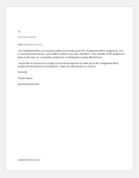 Request letter to the professor to make-up an assignment