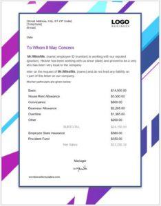 Employee salary certificate format
