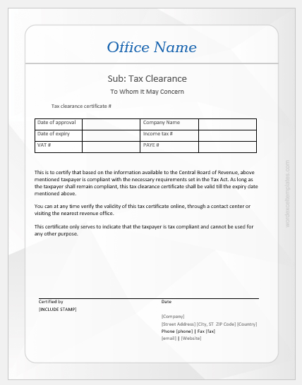 Tax clearance certificate template