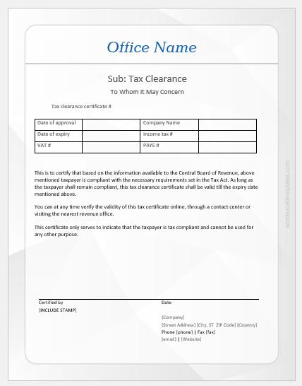 Tax clearance certificate template