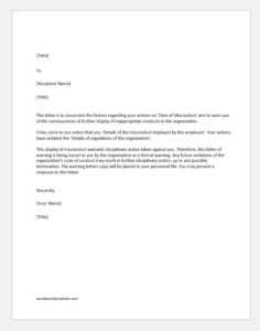 Warning letter for misconduct at work