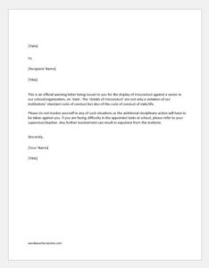 Warning letter for misconduct with senior