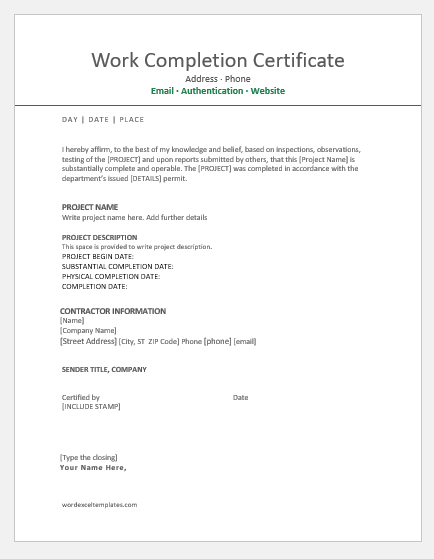 9 Best Work Completion Certificates for MS Word | Word