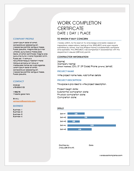 Work completion certificate