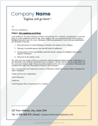 Work Completion Certificate Template