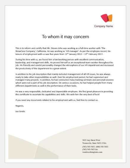 Job Experience Letter Sample From Employer from www.wordexceltemplates.com