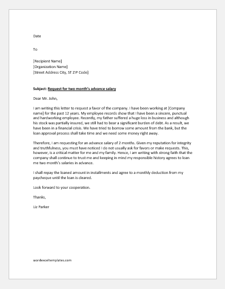 Advance-salary-request-letter Vacation Request Letter Writing Template on accrued vacation spreadsheet templates, application for employment letter templates, vacation to do templates, reference check letter templates, vacation flyer templates, attendance letter templates,